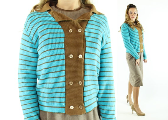 Vintage 50s Catalina Sweater Turquoise Brown Strip