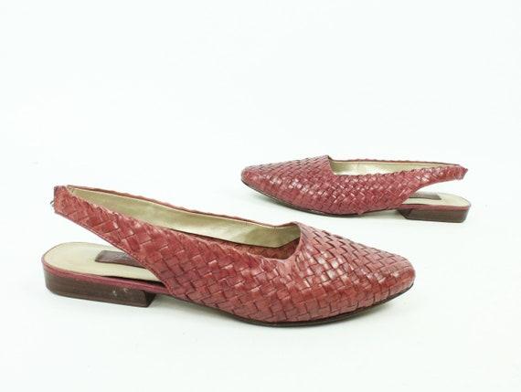 90's Woven Leather Slingback Shoes Huaraches Vinta