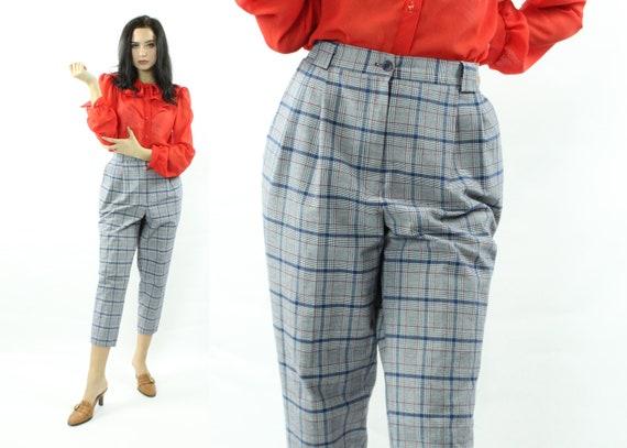 80's Plaid Pleated Pants Vintage 1980's Large L - image 1