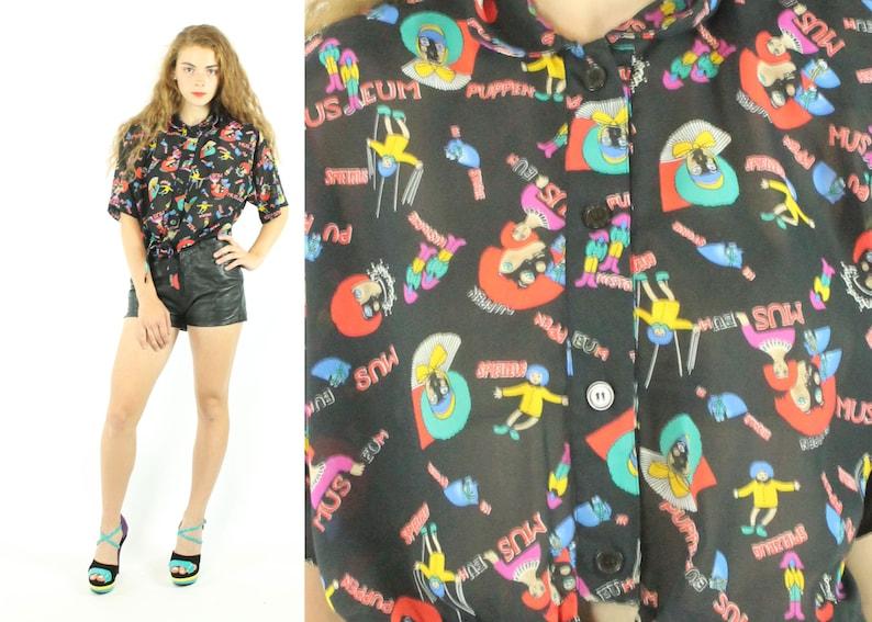 15c2087fbbc19 90s DVF Novelty Blouse Short Sleeve Shirt Vintage 1990s Diane | Etsy