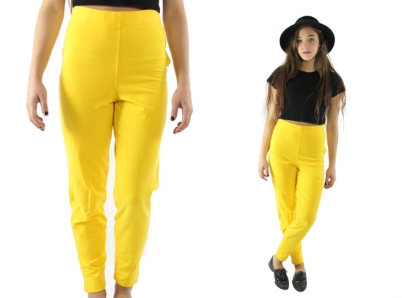 Vintage 90s High Rise Pants Yellow Knit Leggings T