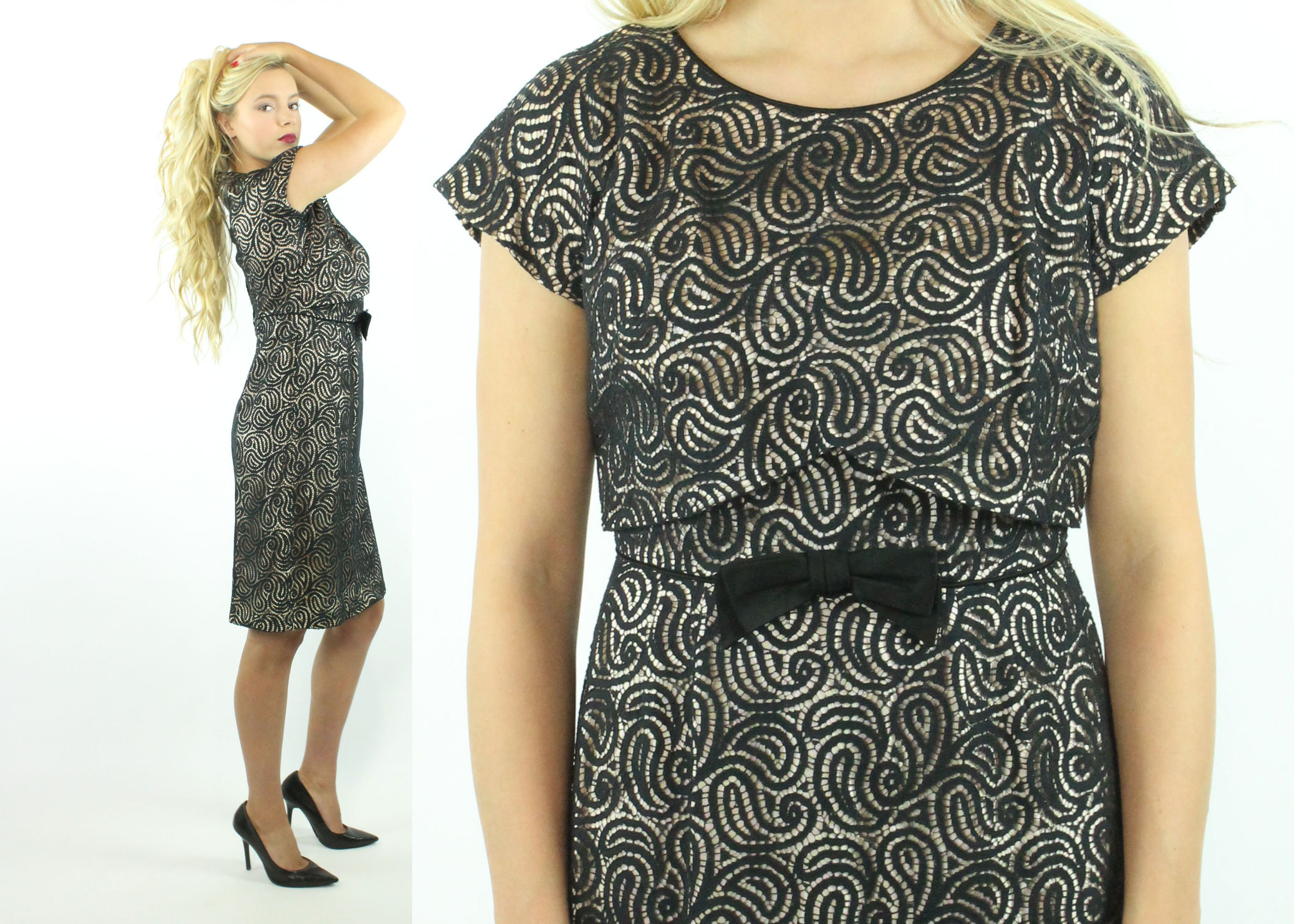 f8e0b8437fa 50s 60s Black Nude Lace Dress Short Sleeve Wiggle Pinup
