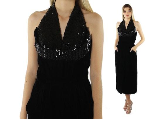 40's Black Velvet Gown Party Dress Vintage 1940's
