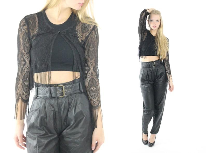 90s Vintage Boho bolero Cropped jacket Black Leather Short shrug