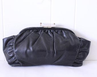 40's Black Leather Clutch Handbag Lucite Closure Vintage 1940's