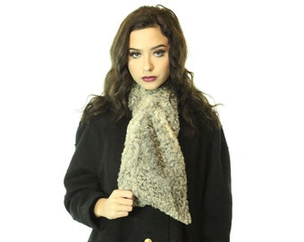 Vintage 50's Gray Curly Lamb Scarf 1950's