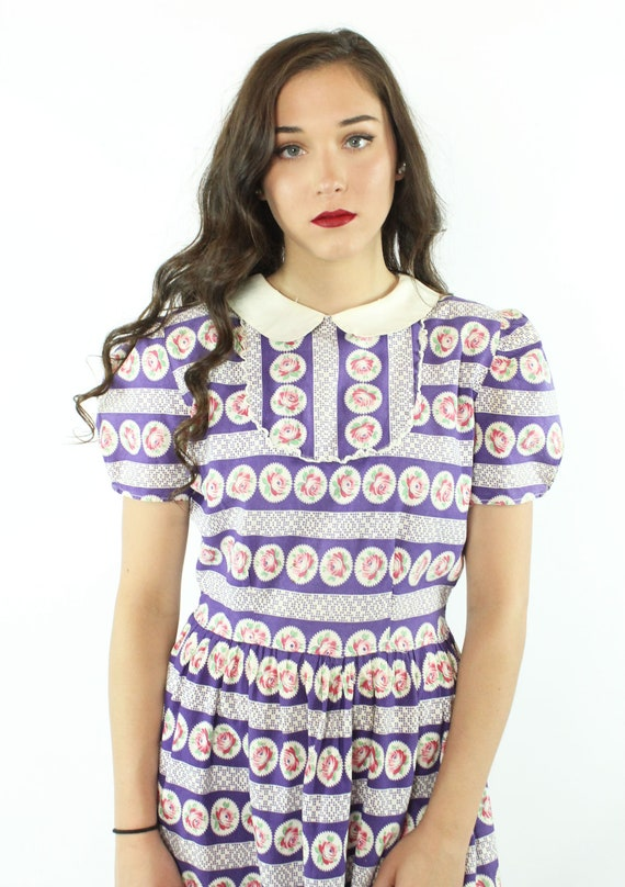 30s 40s Rose Print Cotton Dress Purple White Sund… - image 3