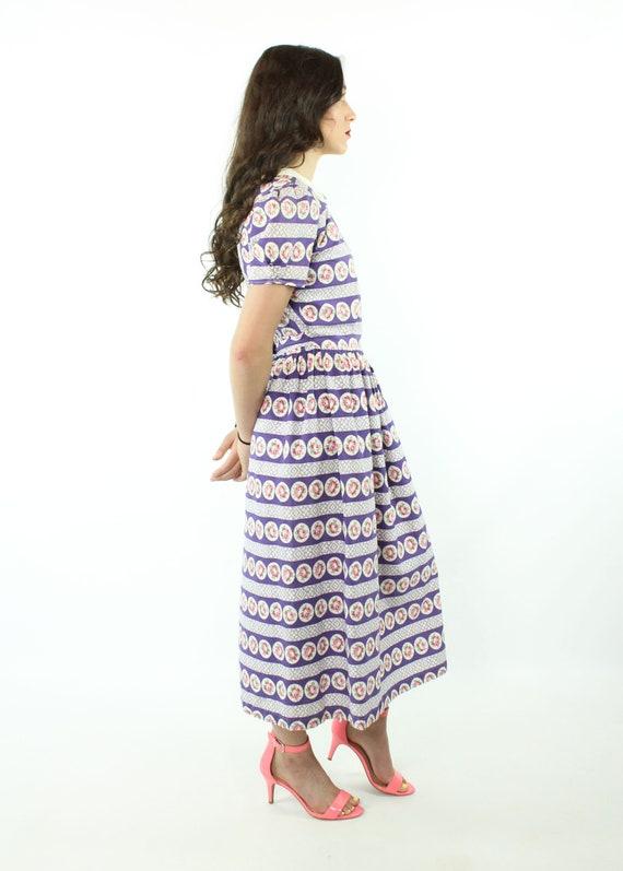 30s 40s Rose Print Cotton Dress Purple White Sund… - image 5