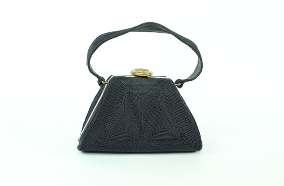 Vintage 40's Small Black Handbag 1940's