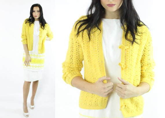 60's Lilly Pulitzer Yellow Wool Cardigan Sweater V
