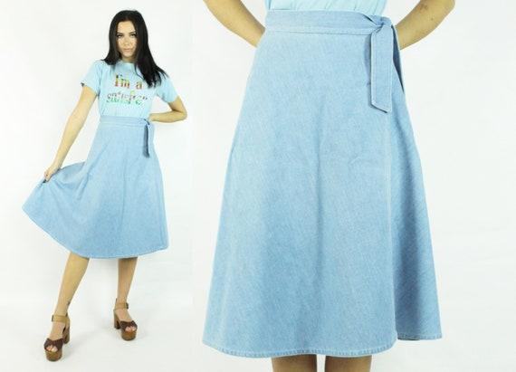 70's Denim Wrap Skirt Light Blue Vintage 1970's Me