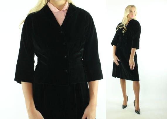 Vintage 50s Black Velvet Suit Nipped Waist Jacket