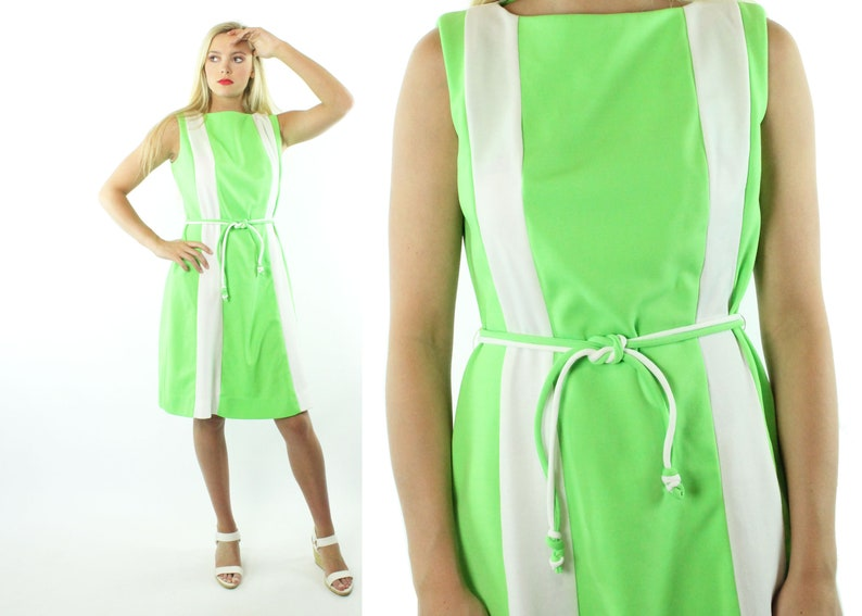 203c015e2ac 70s Color Block Dress Sleeveless Lime Green White Striped Knit
