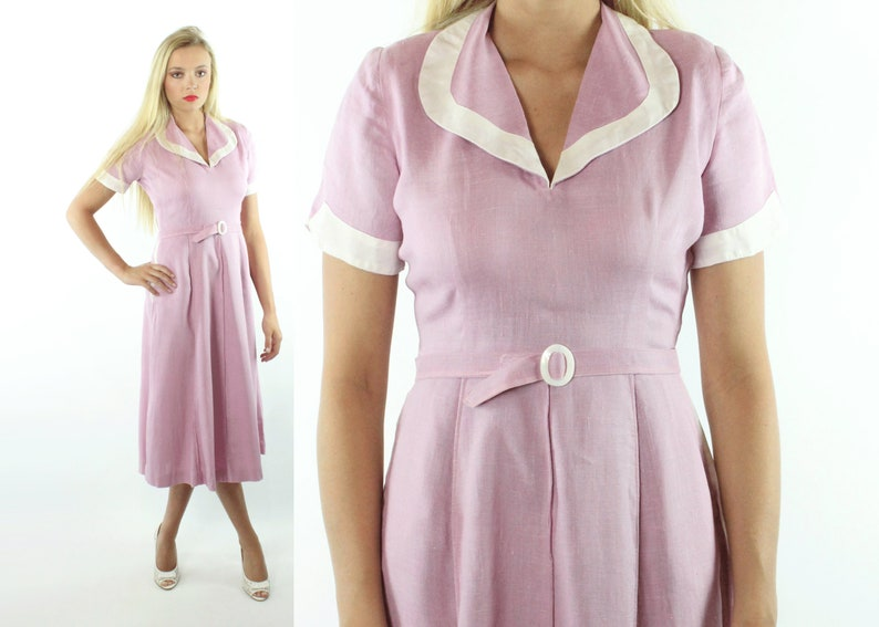 41295a74a4 40s Pinup Day Dress Short Sleeve Lavender Pink Linen Flared