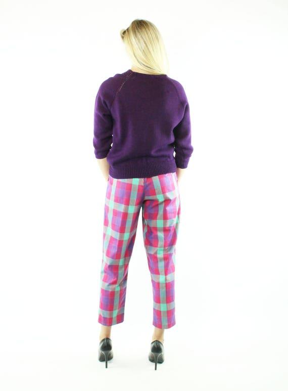 Vintage 80s Cropped Pants Plaid Capri High Waiste… - image 5