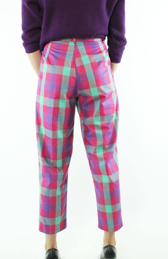 Vintage 80s Cropped Pants Plaid Capri High Waiste… - image 6