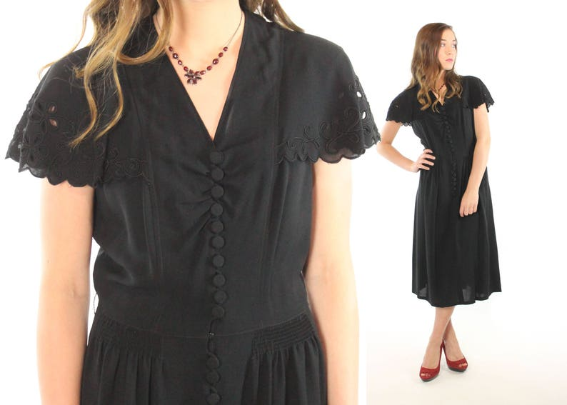 9050060d080f1 1930s 1940s Black Dress Scalloped Lace LBD Short Sleeves Flared Midi Skirt  Vintage 30s 40s Medium M Pinup Rockabilly Art Deco