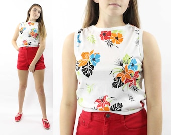 90's Tropical Print Tank Top Vintage 1990's Small S