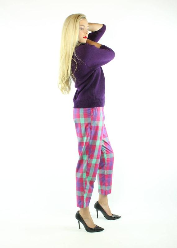 Vintage 80s Cropped Pants Plaid Capri High Waiste… - image 4