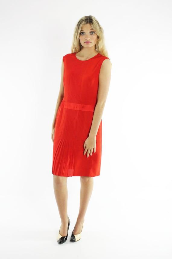 Vintage 80s Carolina Herrera Dress Orange Red Sil… - image 2