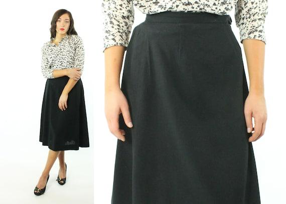 Vintage Black Wool Skirt