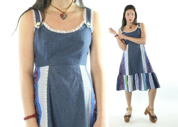 70s Patchwork Sundress Blue Dress Sleeveless Patch