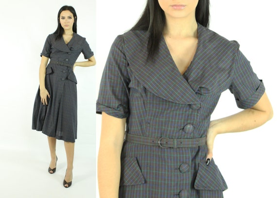 40's Plaid Dress Vintage 1940's Small S