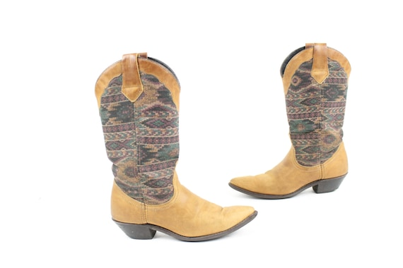 Vintage 80s Tapestry Leather Boots Southwestern Co