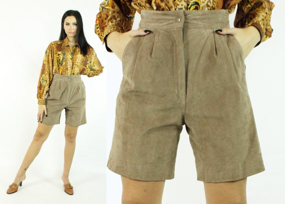 Vintage Pleated Tan Suede Shorts 90/'s 2000/'s Small S