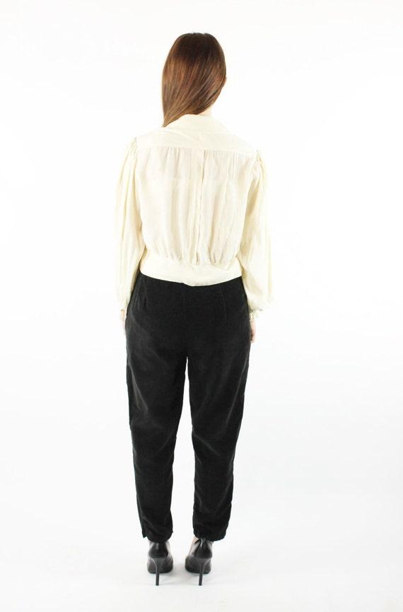 Vintage 40s Ivory Silk Ruffled Poet Blouse 1940s … - image 5