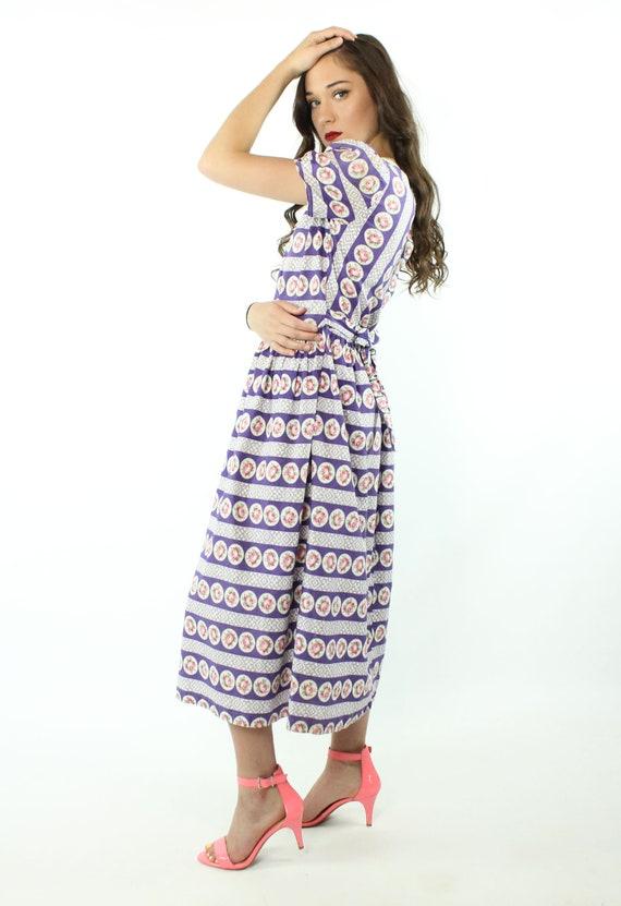 30s 40s Rose Print Cotton Dress Purple White Sund… - image 7