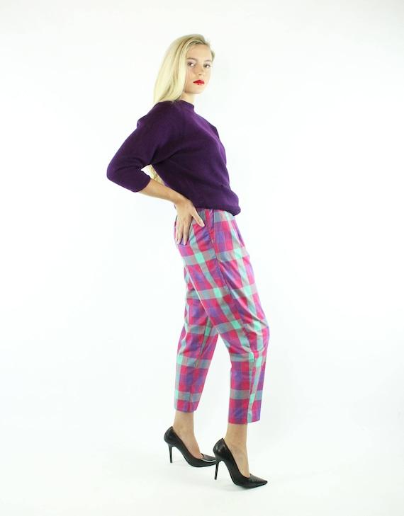 Vintage 80s Cropped Pants Plaid Capri High Waiste… - image 7