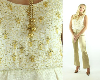 Vintage 50s Beaded Blouse Sleeveless Top Ivory Shirt Gold Beads 1950s Medium M Holiday Party Fashion Pinup Rockabilly