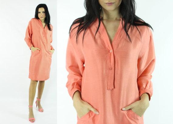 Vintage 70's HALSTON Caftan Dress Coral Silk 1970'