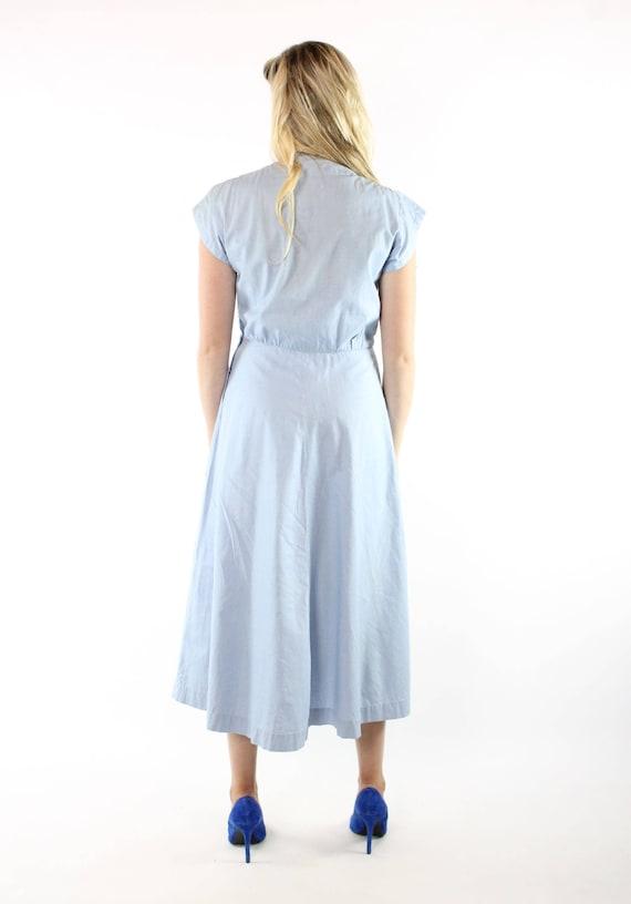 1950s Lace Dress Full Skirt Light Blue Cotton Short Sleeves Vintage 1950s Medium M Pinup Rockabilly