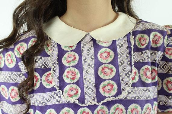 30s 40s Rose Print Cotton Dress Purple White Sund… - image 4