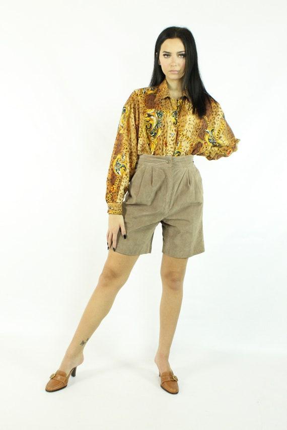 90's Leopard Print Silk Blouse Shirt Top Vintage … - image 2