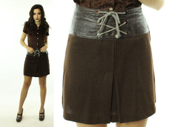 Vintage 60's Brown Mod Mini Skirt 1960's Small S