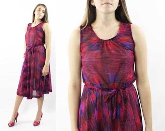 70's Abstract Day Dress Vintage 1970's Medium M