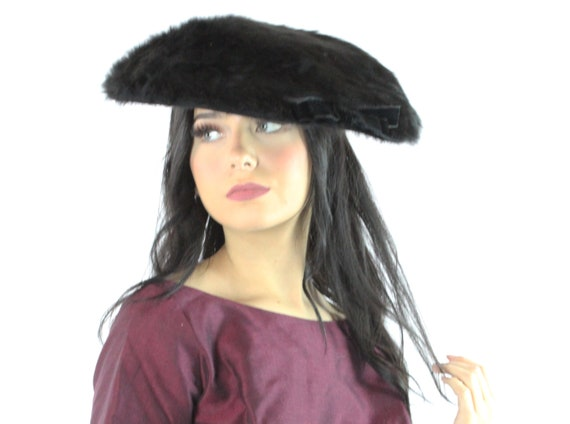 50's Black Fur Saucer Hat Vintage 1950's
