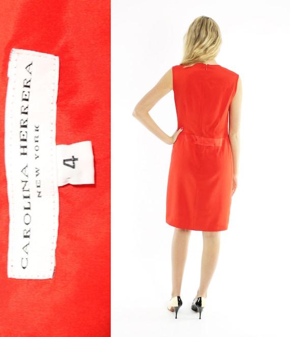 Vintage 80s Carolina Herrera Dress Orange Red Sil… - image 5