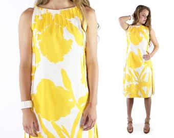 70's Floral Dress Yellow White  Wilson Folmar Vintage 1970s Small S