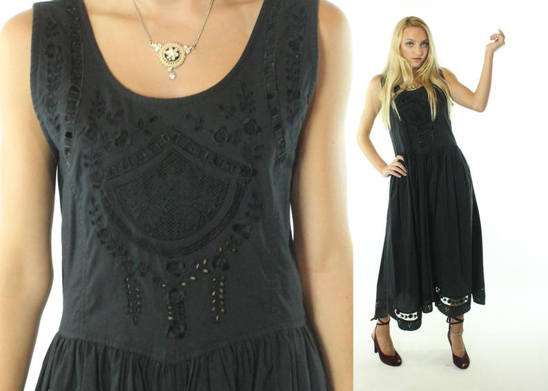 93ae72406f5 Vintage 90s Lace Sundress Dress Embroidered Cutouts Black