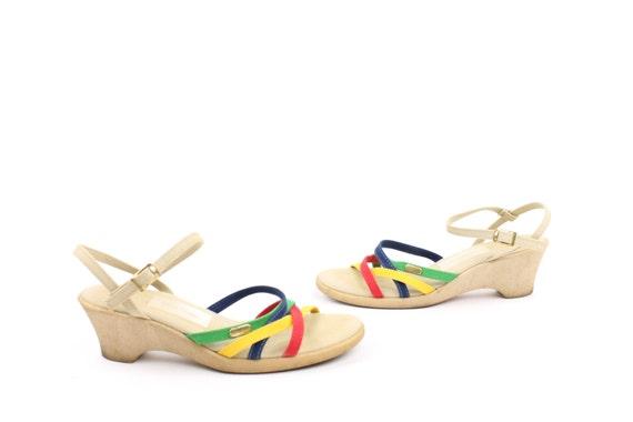 Fabric Pumps 5 Heels 8 Canvas Sandals Size 70s Vintage 1970s Strappy Wedges Rainbow Summer uKlF1c35JT
