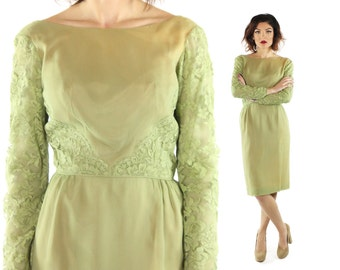 Vintage 60s Chartreuse Wiggle Dress Nude Illusion Lace Long Sleeves 1960s Medium M Femme Fashions Pinup Rockabilly