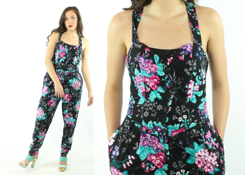 80dfc6c60fa 80s Floral Jumpsuit Romper Jumper Sleeveless Black Pants