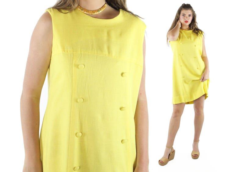 e0a1e98d 60s Mod Shift Dress Yellow Linen Mini Skirt Sleeveless Vintage | Etsy