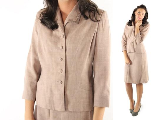 Vintage 40s Suit Dusty Rose Beaded Jacket High Wai