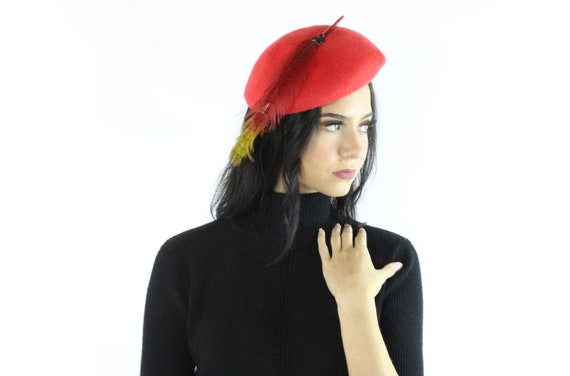 60's Red Wool Beret Feather Hat Vintage 1960's