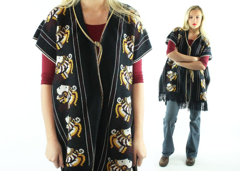 72750db9208 70s Knit Sweater Poncho Cape Blanket Scarf Fringe Black Vintage 1970s One  Free Size Hippie Boho Festival Fashion